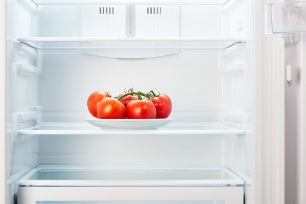 Tomatoes shouldn't be stored in the fridge because they lose their flavor.