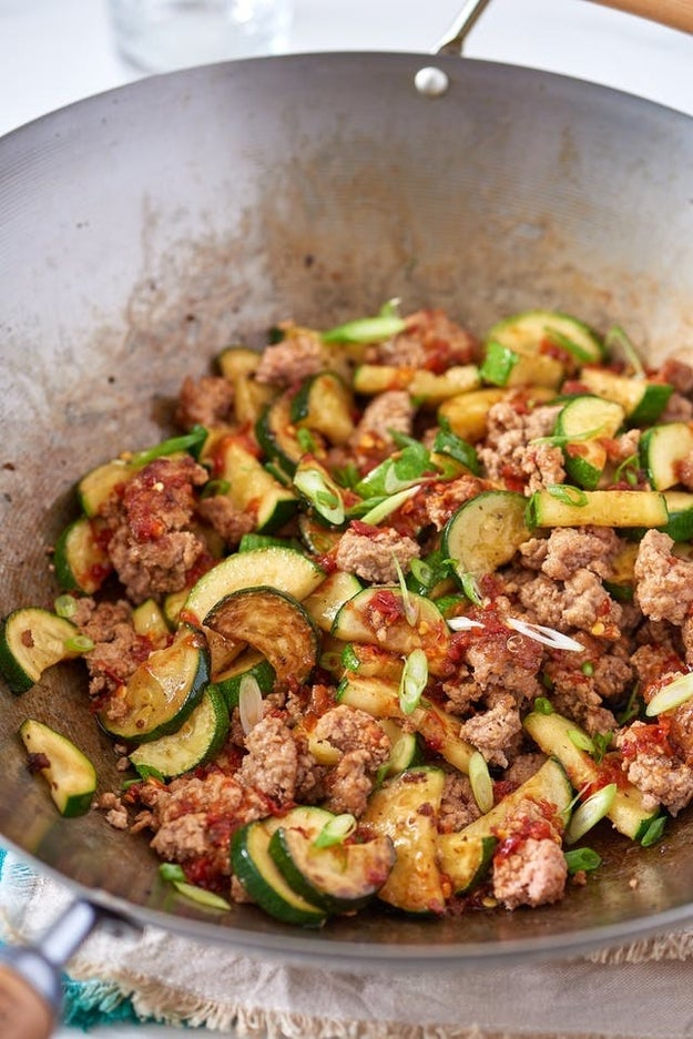 Spicy Ground Pork and Zucchini Stir-Fry