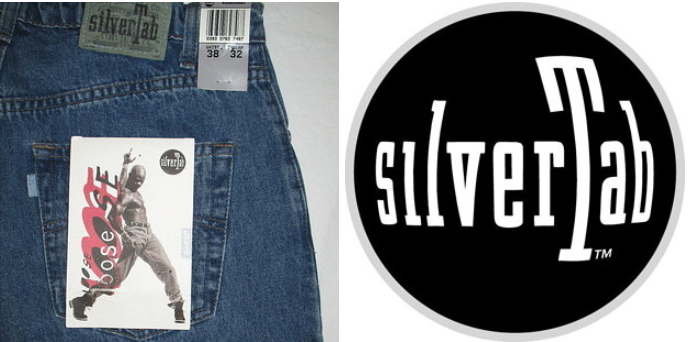A pair of loose SilverTab jeans and the image of the logo next to it