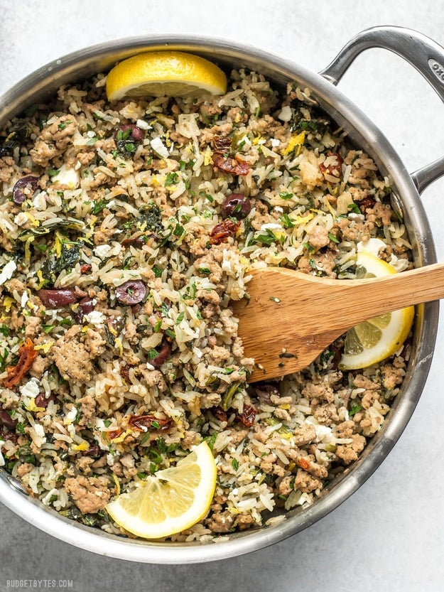 Greek Turkey and Rice Skillet