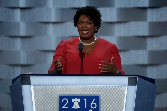 Stacey Abrams speaks at the 2016 DNC.