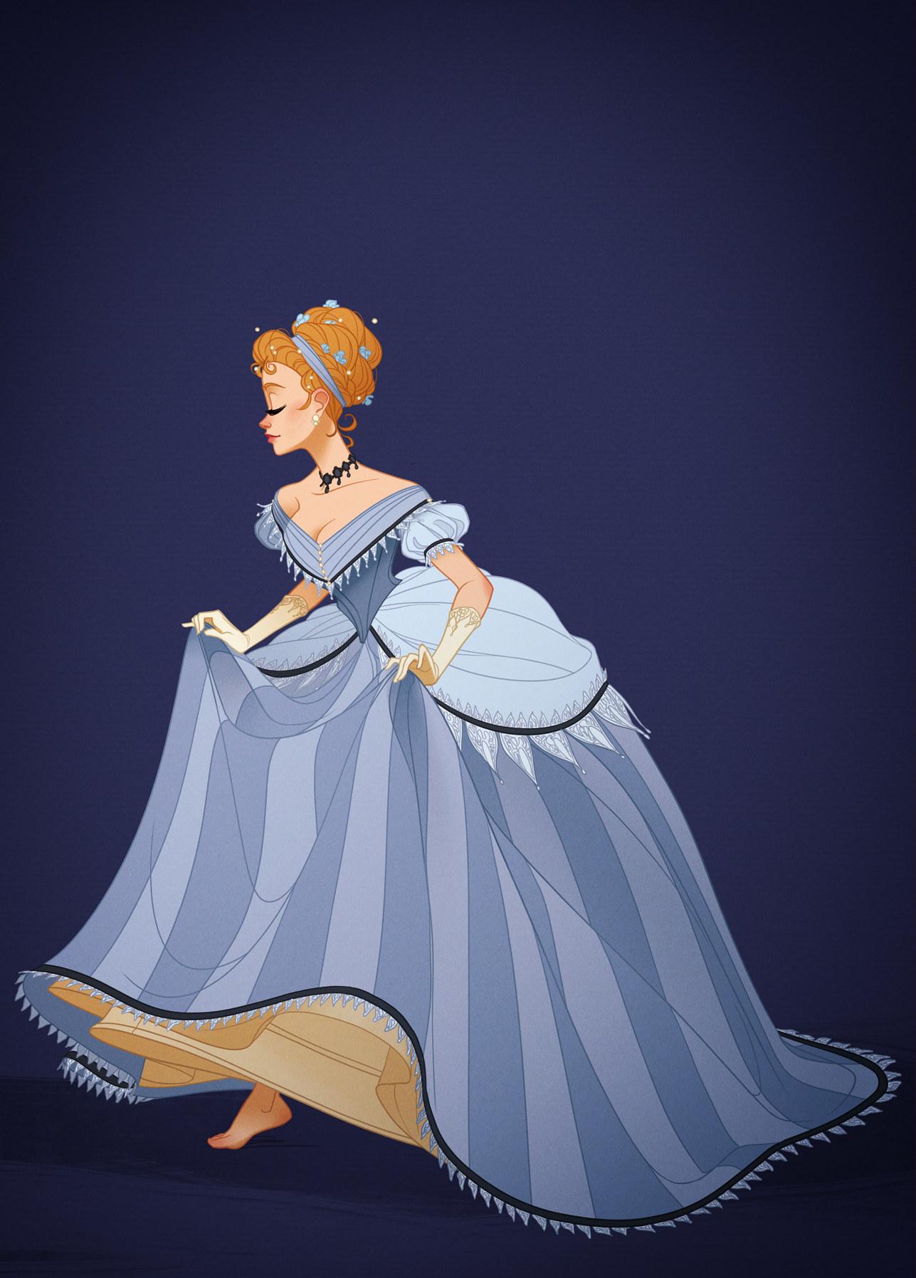 時代にあった服装をディズニープリンセスに着せたイラストがすごい