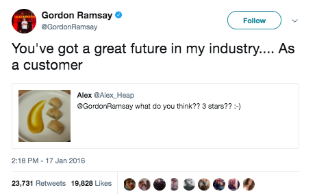 In case you didn't know how Gordon Ramsay operates online, this is what he does: Fans send him pictures of their food, and he critiques/roasts/compliments it.