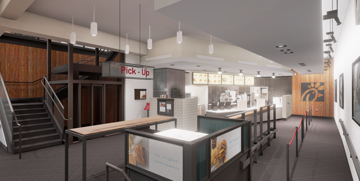 A rendering of the new Grand Central Chick-fil-A.
