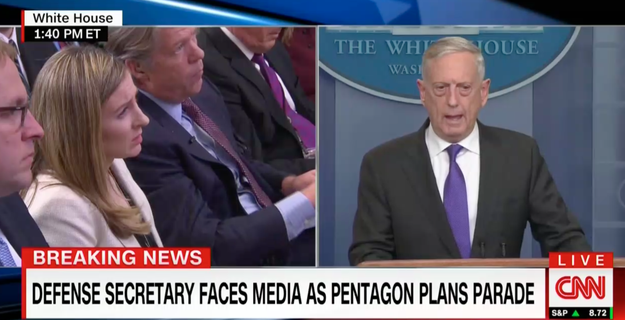 """Secretary of Defense James Mattis also dodged questions about how much a possible military parade would cost. """"We've been putting together some options. We'll send them up to the White House for a decision,"""" he told reporters."""