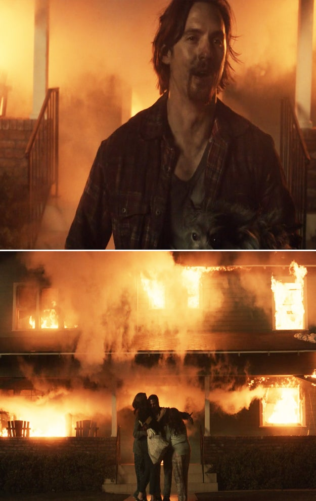 And finally, when he ran back inside the burning house to save the dog and the irreplaceable family photo albums.