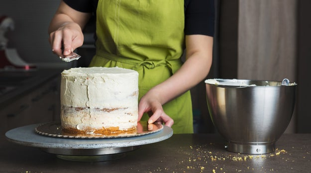 You don't wait for your cake to fully cool down before decorating it.