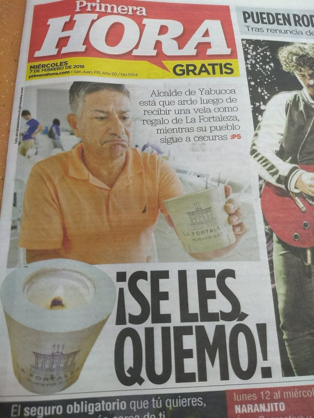 "And on Wednesday morning, Primera Hora ran a picture of Surrello with one of the candles and the headline, ""He burned them!"" (¡Se les quemó!)"