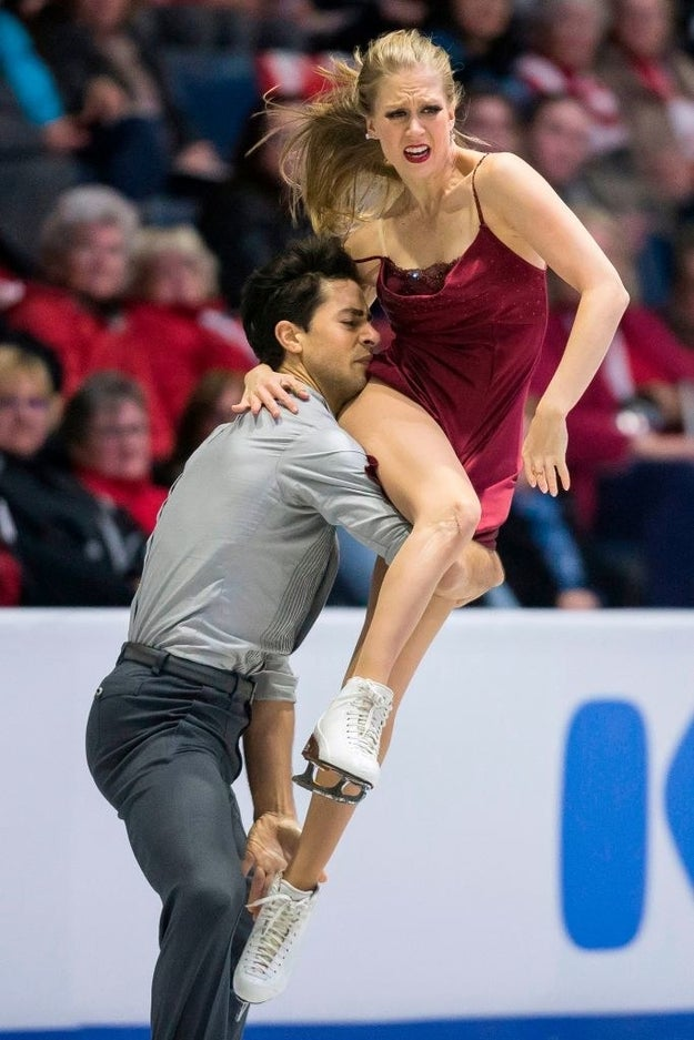 Wait, you guys, SHE IS LITERALLY CLIMBING ON HIM WITH SKATES. *Shaking a bit*
