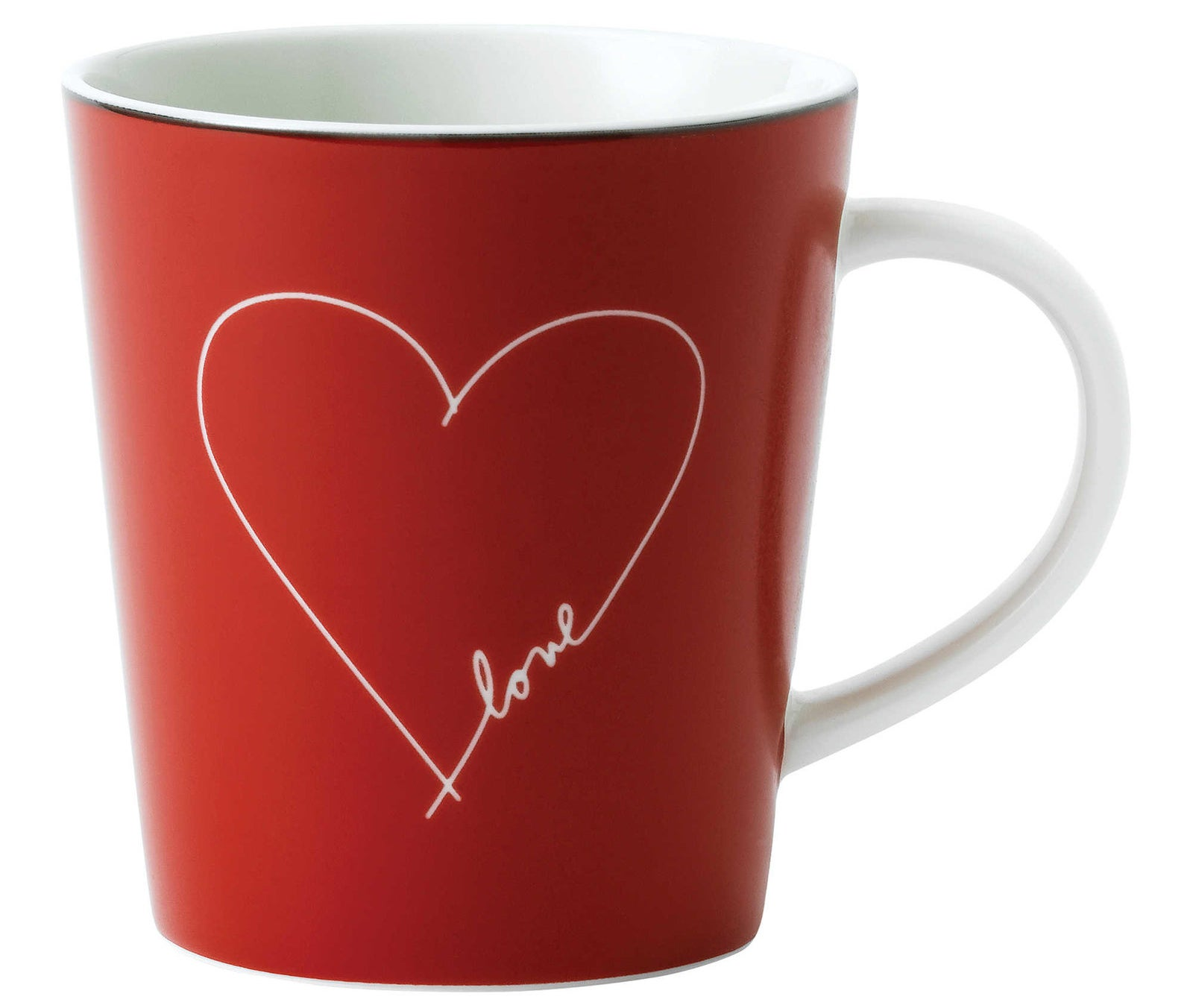 "A ""love"" mug from the Ellen DeGeneres collection crafted by the china experts at Royal Doulton."