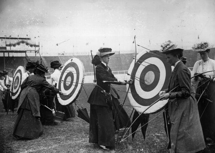 Women competitors in the archery event of the 1908 Summer Olympics in London.