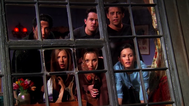 The friends spy on their neighbors ALL. THE. TIME.