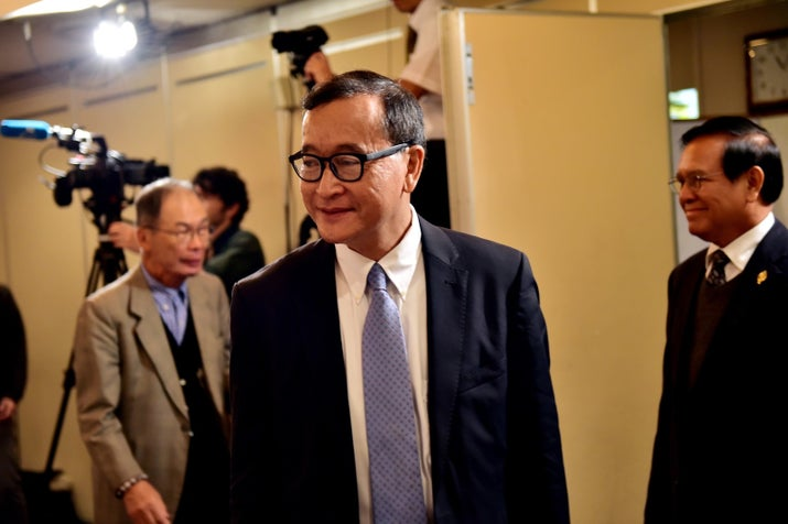 Former Cambodia National Rescue Party president Sam Rainsy in 2015