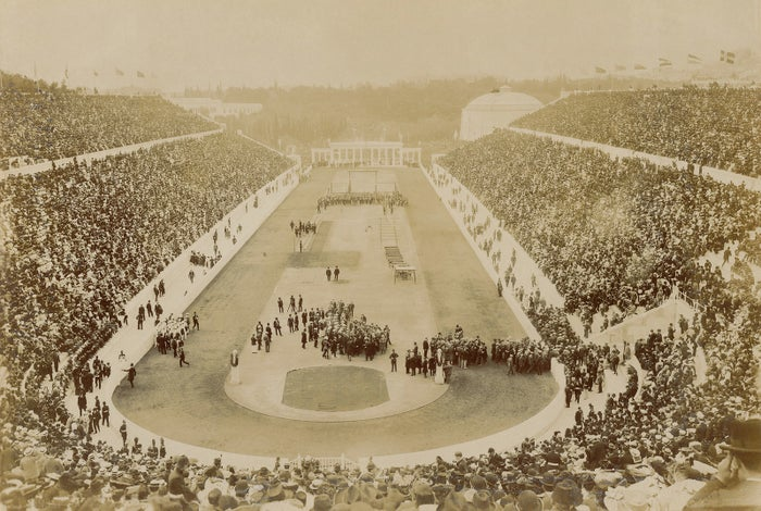 Opening ceremony of the 1896 Olympic Games in the Panathenaic Stadium in Athens.