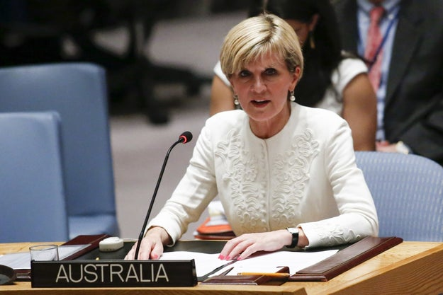 And here's Australia's foreign minister, Julie Bishop, speaking at the United Nations, a pretty exclusive international club that you have to be a 100% real country to join.