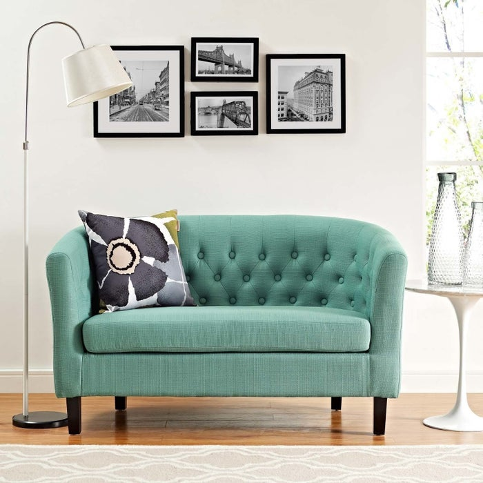 """Price: $315.99Promising review: """"This is the cutest little loveseat! It fits perfectly in my sitting room. I totally redid the room and this makes everyone do a double take. I'd definitely buy this again for another room."""" —OstkUser27156207"""