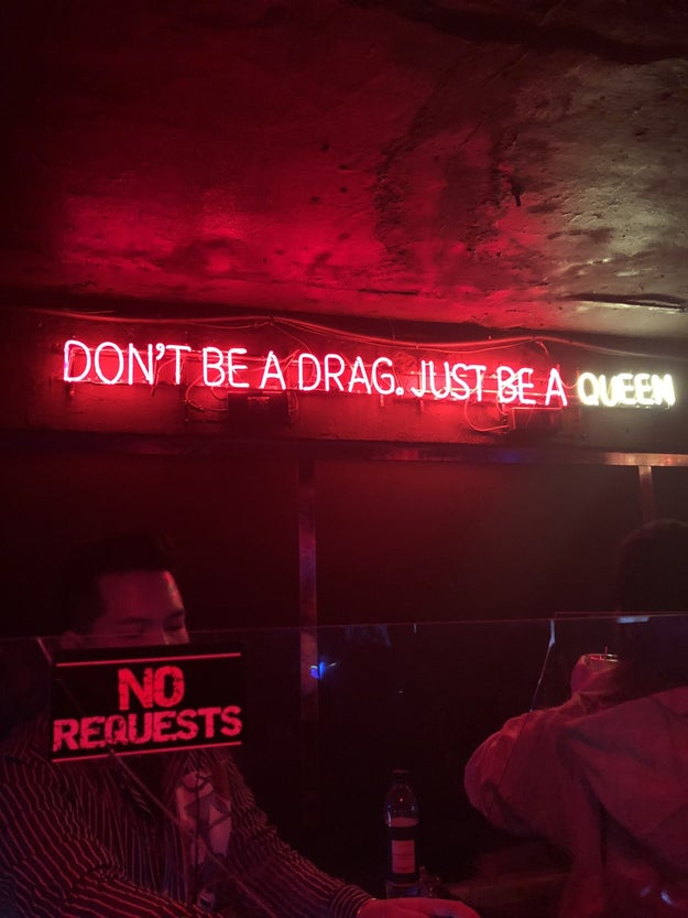 A gay bar with an iconic Lady Gaga lyric in a neon light.