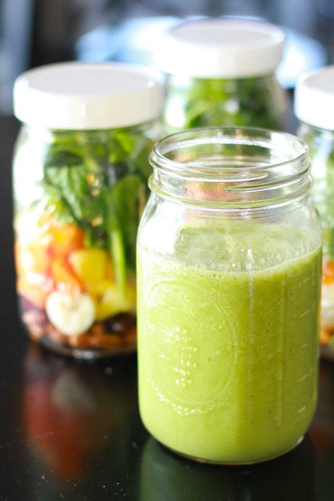 smoothies in glass jar