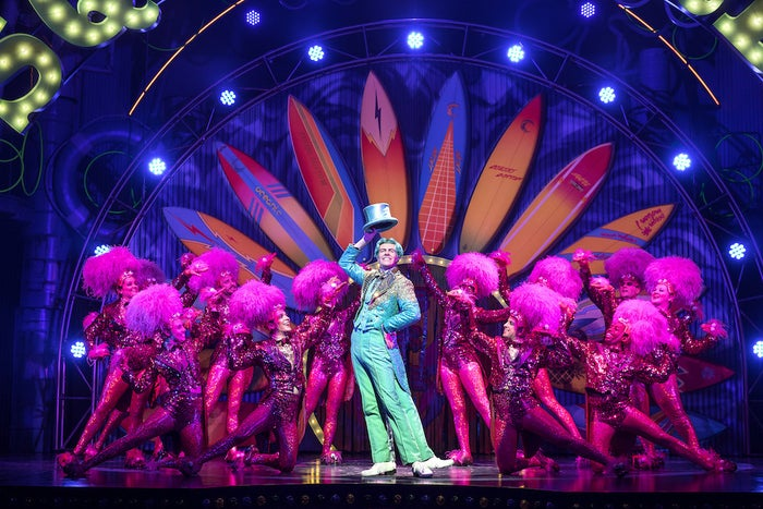 """SpongeBob has a fantastic ensemble, so it's a blessing that the show allows each of its principal characters at least one moment (and often more than that) to take center stage. SpongeBob's sidekicks Patrick (Danny Skinner) and Sandy (Lilli Cooper) are endlessly appealing in songs like """"BFF"""" and """"Hero Is My Middle Name."""" Wesley Taylor displays his surprising ability to spit bars in Plankton's rap number """"When the Going Gets Tough."""" As Mr. Krabs, Brian Ray Norris shines in the ode to money """"Daddy Knows Best."""" And when Gavin Lee's Squidward finally, finally shows off his dancing skills — made all the more impressive by his extra appendages — in """"I'm Not a Loser,"""" he taps off with the whole goddamn show."""
