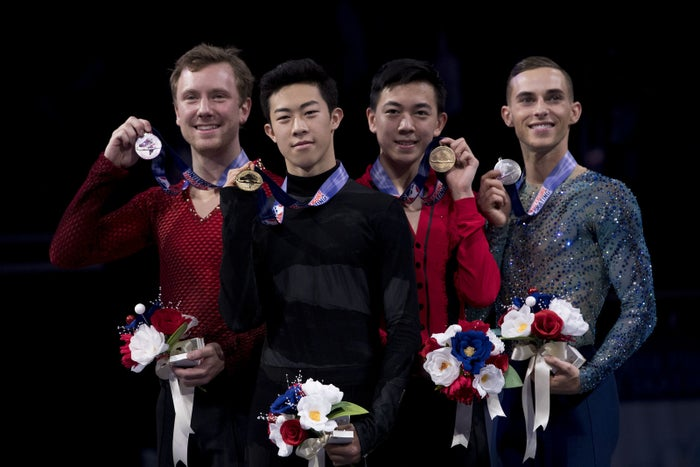 Ross Miner, Nathan Chen, Vincent Zhou, and Adam Rippon, the first openly gay US Winter Olympian, at the US Figure Skating Championships last month.