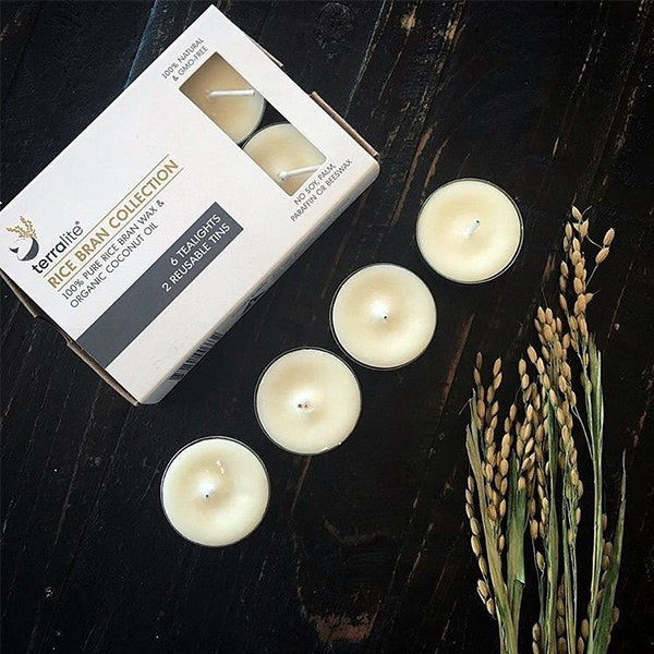 Six Fair Trade Certified tealights come with two reusable tins made of recycled steel. Whether you're setting the mood for you and your S.O. or treating yourself to a luxurious bubble bath, these babies will burn for eight sensual hours.