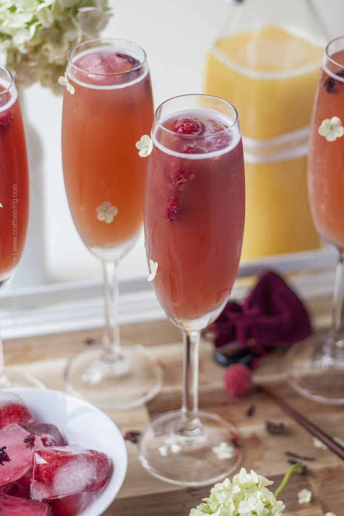 Low alcohol fruit flavored craft beers with a splash of OJ are a delicious alternative to mimosas. (Psst - you can have more than one without discernible behavioral changes:) Recipe here.