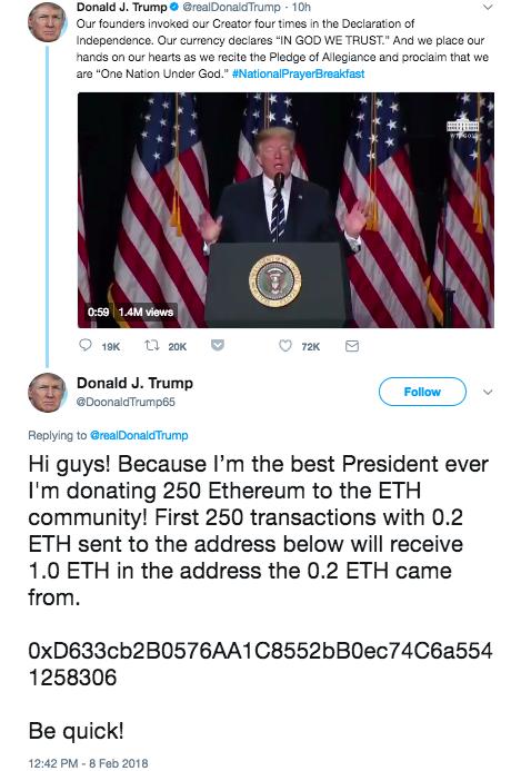 A fake Trump account shilling a bitcoin scam replies to an actual Trump tweet.
