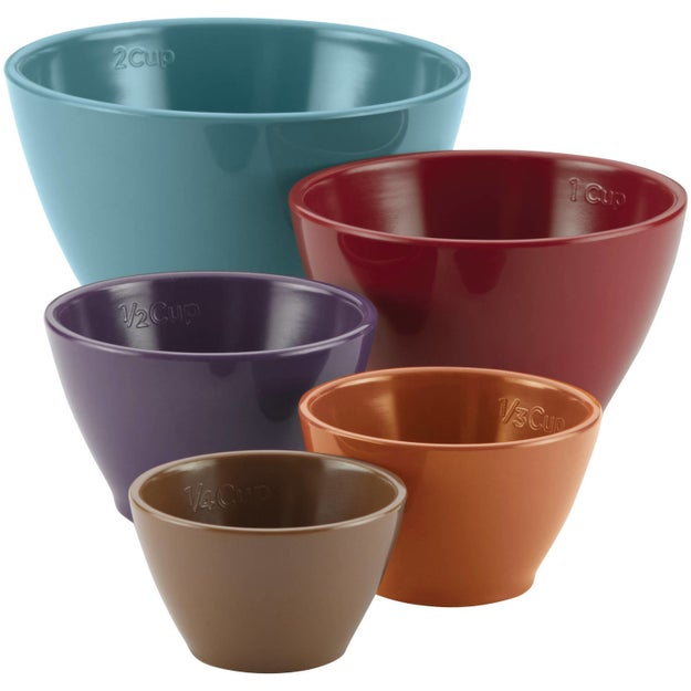 A five-piece set of nesting measuring cups that have raised measurement capacities that won't peel off after repeated washing.