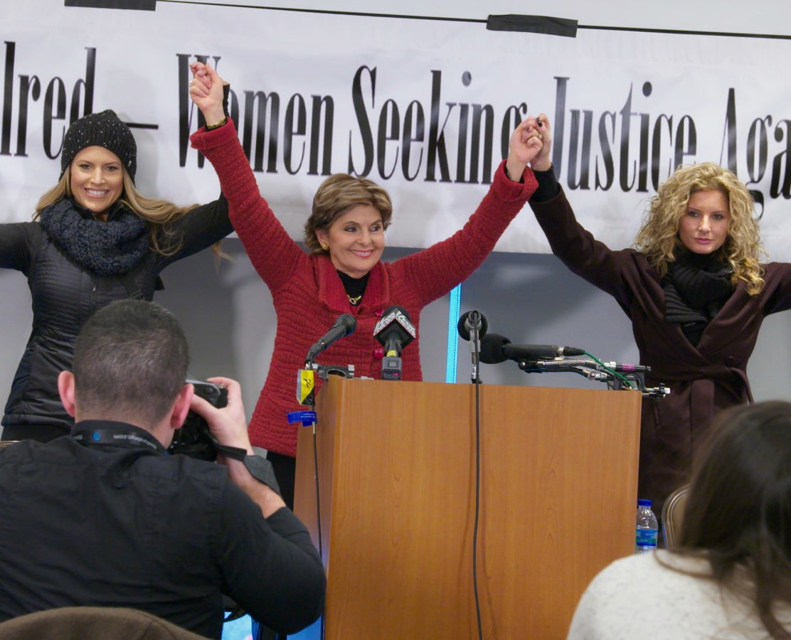 Gloria Allred with Temple Taggart (left) and Summer Zervos, who both accused Donald Trump during the 2016 presidential campaign of sexual misconduct, in Washington, DC, on Jan. 21, 2017.