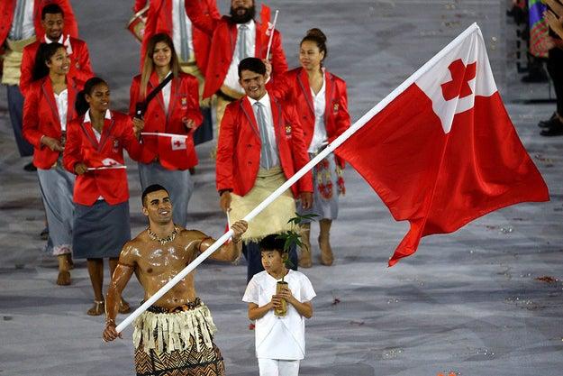 Tonga's Oiled-Up Flag-Bearer Returned For The Winter Olympics