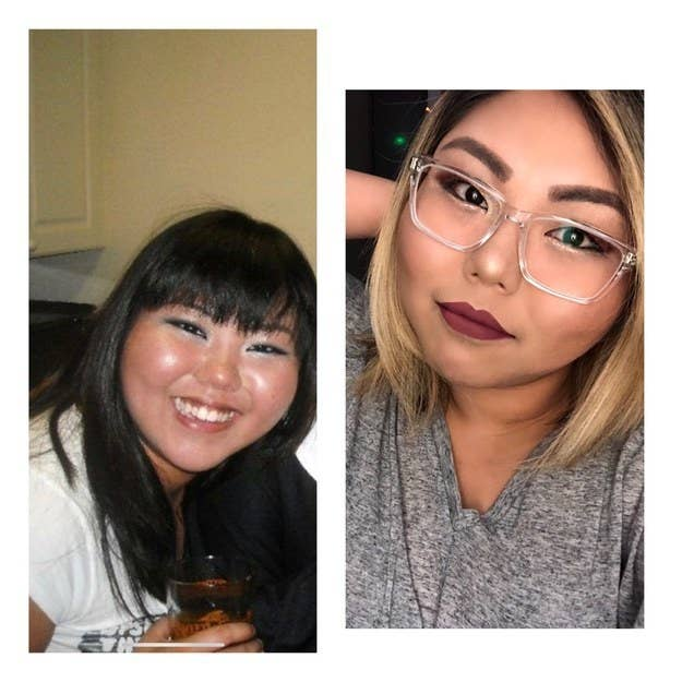 On the left was 2010 when I went through a heavy K-pop stage. On the right is 2018, I lost the bangs, went blonde, and grew some eyebrows. – Moniettemok