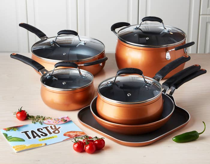 The non-stick coating on this cookware set is PFOA-free, so you don't have to worry about toxic chemicals making their way into your food. This set includes a 9.5-inch fry pan, an 11-inch griddle pan, a 1.5-quart saucepan with glass lid, a 2.5-quart saucepan with lid, a 4-quart deep cooker with glass lid and helper handle, a 6-quart Dutch oven with glass lid, and a Tasty recipe booklet! All the pieces have stainless steel induction bases suitable for all cooking surfaces.And if you're looking for one pan that'll last you a lifetime, you can find our pick for the best cast iron skillet in three different price points on BuzzFeed Reviews. Get it from the Tasty collection at Walmart for $99.