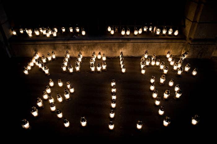 A memorial to murdered investigative journalist Jan Kuciak.