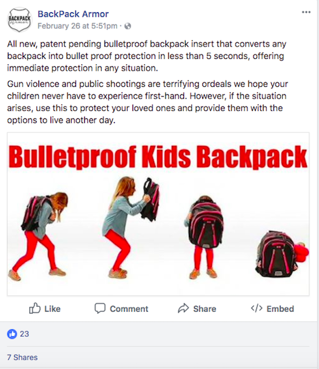 After Parkland, Companies Are Selling Uncertified Bulletproof Backpacks 9