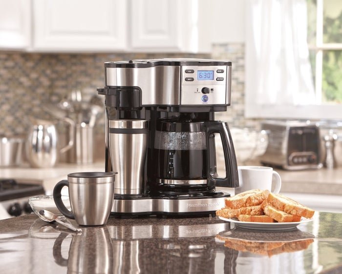 """This brewer can make a single-serve cup or a 12-cup pot, so you have options. Promising review: """"I was contemplating a Keurig coffee maker because there are many days where I just make a cup or two of coffee. But they are really wasteful. Then I stumbled upon this one and thought it would be a good compromise. I get a lot of compliments on this coffee maker — people love the feature of being able to brew a cup on the go or a pot. We have found the flexibility very handy. The program feature is easy to set and is a good way to wake up to fresh brewed coffee. This one is still going strong in year three."""" —AndyGet it from Amazon for $57.99."""