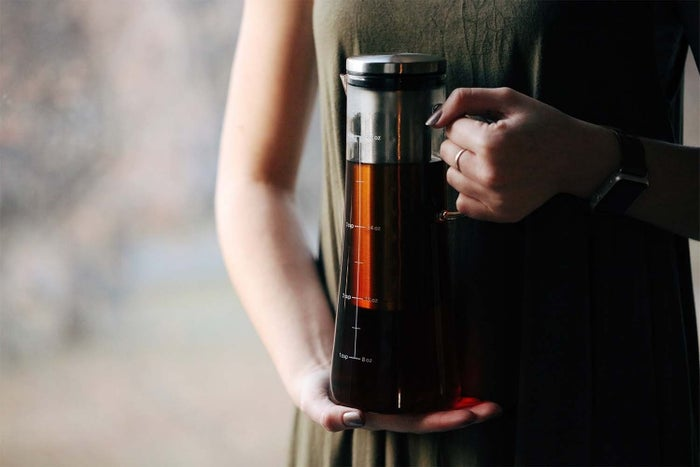 """This pitcher can also be used to infuse tea! Promising review: """"Perfect way for us to still get our caffeine kick, since we are transitioning into the warmer months and not craving the comfort of a hot cup of coffee in our hands. Plus, I'm a busy mom of two little ones...I can't remember the last time I actually drank a cup of coffee that was still hot anyway. Brilliant idea to grab a cold brew and go about my business."""" —Lisa Walters Get it from Amazon for $17.99."""