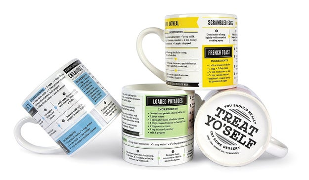 Informative mugs covered in a variety of recipes you can make with just your mug, a microwave, and low culinary standards.