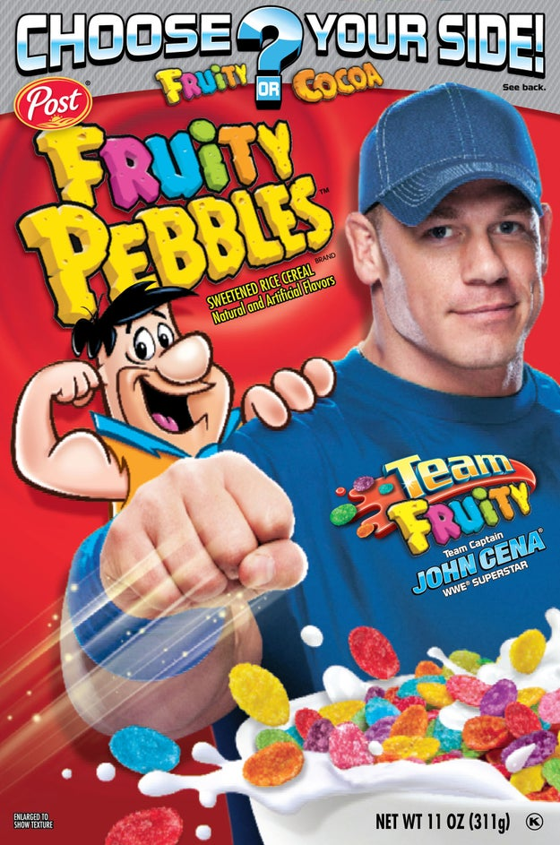 One time The Rock made fun of John Cena's brightly colored shirts, comparing him to a bowl of Fruity Pebbles. This led to Fruity Pebbles replacing Fred Flintstone with John Cena on 4 million boxes of cereal.