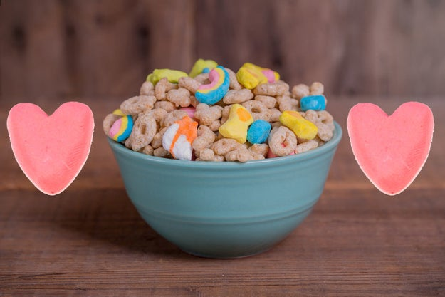 Of all the different Lucky Charms marshmallows, the only ones that've been there from the start are the pink hearts.