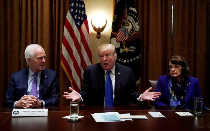 President Donald Trump discusses gun legislation flanked by Republican Sen. John Cornyn and Democratic Sen. Dianne Feinstein.
