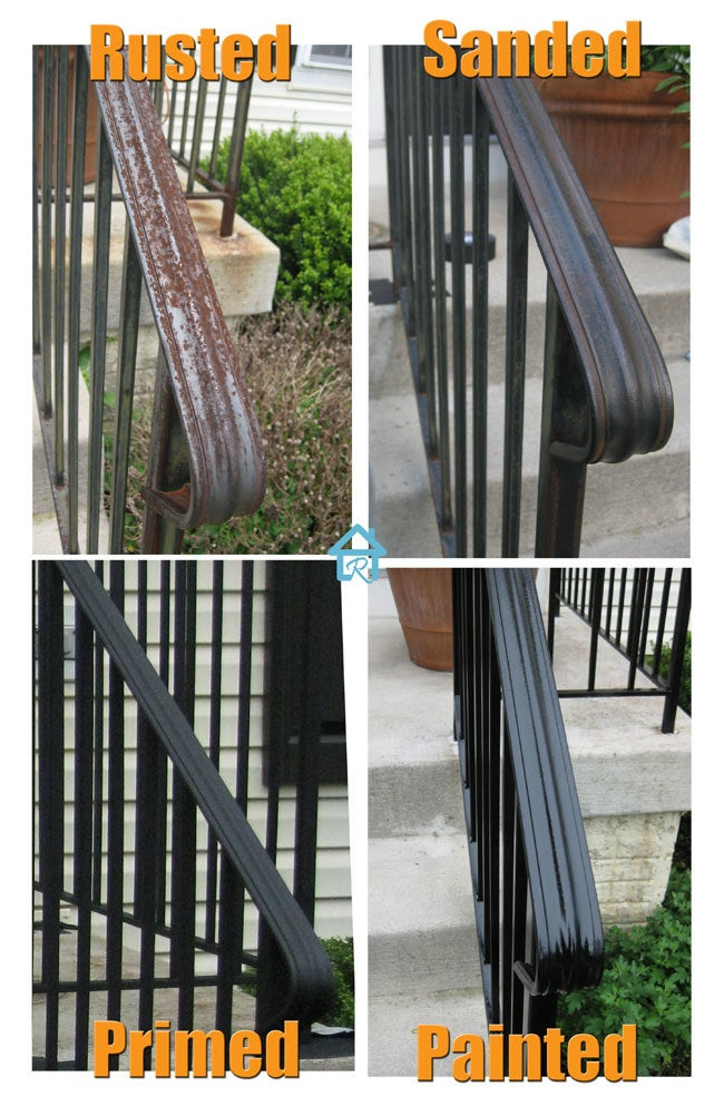 A before and after photo showing the rusted and then freshly painted handrail