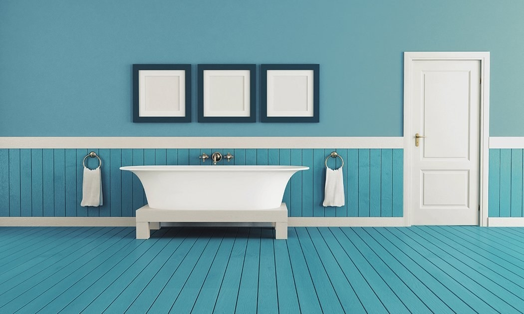 A freshly painted bathroom