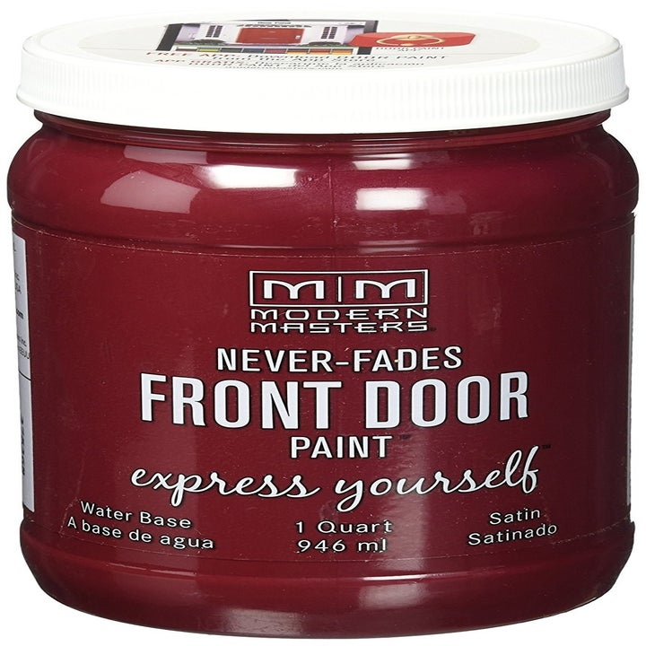 A jar of the front door paint in Satin Passionate