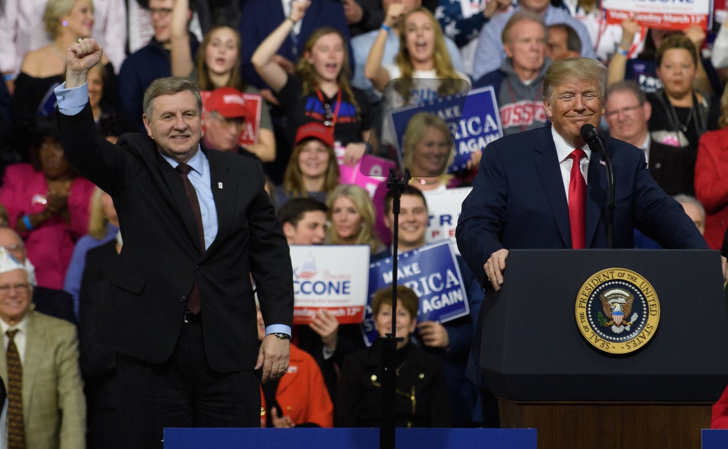 Trump with Saccone at the rally at Atlantic Aviation Hanger on March 10, 2018, in Moon Township, Pennsylvania.