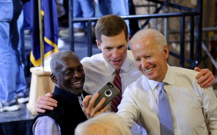 Former vice president Joe Biden takes a selfie with Lamb at the Union Carpenters Training Center in Pittsburgh, March 6, 2018.
