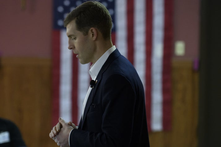 Lamb speaks to an audience at the American Legion Post 902 on Jan. 13, 2018, in Houston, Pennsylvania.