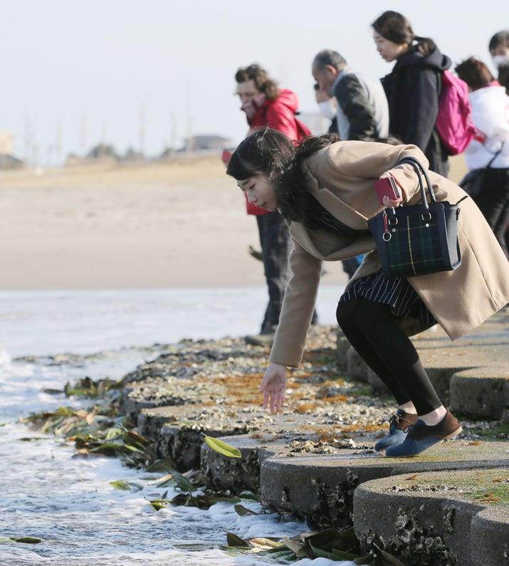 犠牲者へのメッセージなどを記した木の葉を海に流す人たち(相馬市)