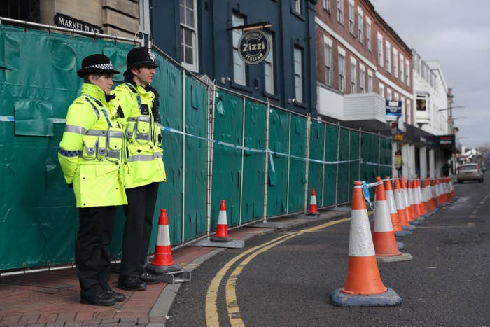 Police officers outside a Zizzi restaurant in Salisbury, as police and members of the armed forces probe the suspected nerve agent attack on Russian double agent Sergei Skripal