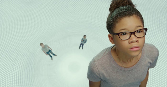Levi Miller, Deric McCabe, and Storm Reid in A Wrinkle in Time.