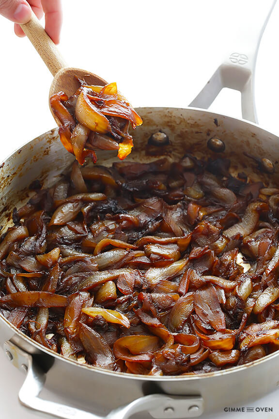 A pan of caramelized onions
